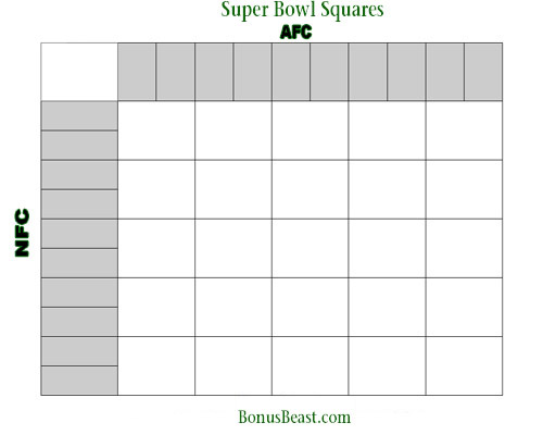 Print Superbowl Square Grid 25 Boxes Office Pool Football