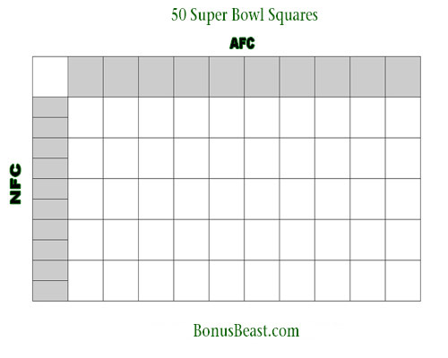 Print SuperBowl Square Grid 50 Boxes Office Pool Football